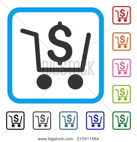 Checkout icon. Flat grey pictogram symbol in a light blue rounded rectangular frame. Black, gray, green, blue, red, orange color versions of Checkout vector. Designed for web and application UI.