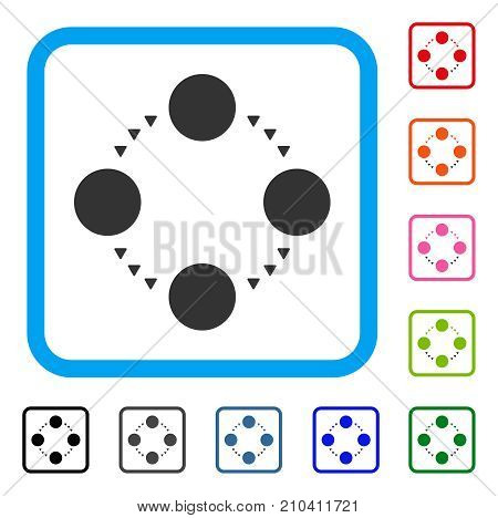 Circular Relations icon. Flat gray iconic symbol inside a light blue rounded rectangular frame. Black, gray, green, blue, red, orange color variants of Circular Relations vector.