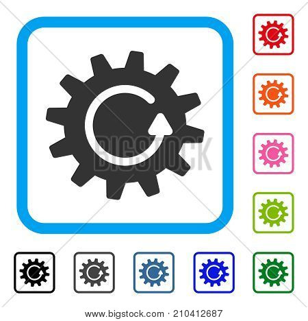 Cogwheel Rotation icon. Flat grey pictogram symbol inside a light blue rounded rectangular frame. Black, gray, green, blue, red, orange color additional versions of Cogwheel Rotation vector.