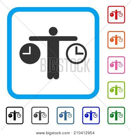 Compare Time icon. Flat grey pictogram symbol in a light blue rounded squared frame. Black, gray, green, blue, red, orange color variants of Compare Time vector.