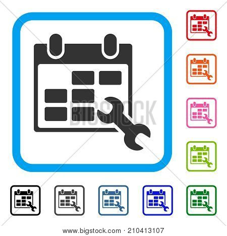 Configure Timetable icon. Flat grey pictogram symbol inside a light blue rounded rectangle. Black, gray, green, blue, red, orange color versions of Configure Timetable vector.