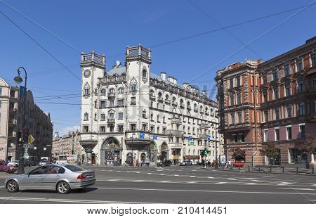 St. Petersburg, Russia - June 17, 2017: Area of Leo Tolstoy and the building of the Andrei Mironov Theater in St. Petersburg