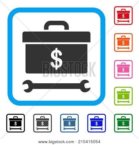 Dollar Toolbox icon. Flat gray iconic symbol inside a light blue rounded rectangular frame. Black, gray, green, blue, red, orange color additional versions of Dollar Toolbox vector.