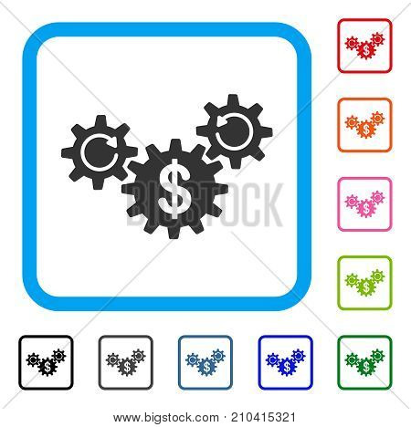 Dollar Wheels Rotation icon. Flat grey pictogram symbol inside a light blue rounded rectangle. Black, gray, green, blue, red, orange color versions of Dollar Wheels Rotation vector.