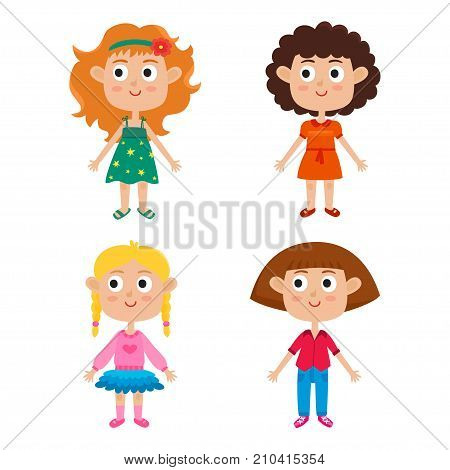 Young european girls body template - front. Cute cartoon girls isolated on white background. Vector illustration of trendy girls - red-haired, blonde, curly and brown-haired. Characters set of stylish kids. Cute fashion clothes for girls.