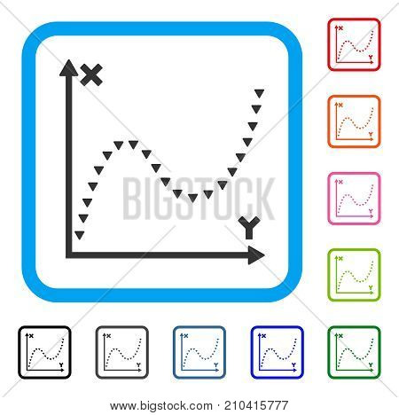 Dotted Function Graph icon. Flat grey pictogram symbol in a light blue rounded frame. Black, gray, green, blue, red, orange color variants of Dotted Function Graph vector.