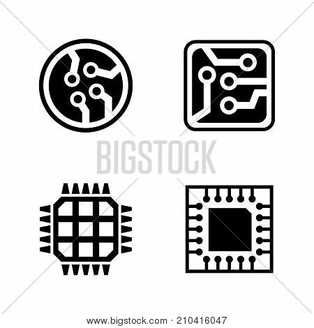 Microelectronics. Simple Related Vector Icons Set. Black Flat Illustration on White Background.