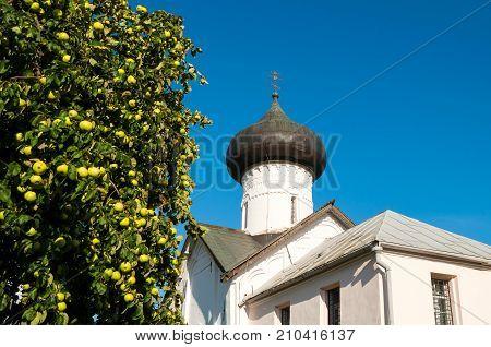 Veliky Novgorod Russia. Closeup of Church of Simeon the God Receiver in Zverin Pokrovsky Monastery Veliky Novgorod Russia
