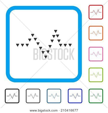 Dotted Pulse icon. Flat grey pictogram symbol in a light blue rounded squared frame. Black, gray, green, blue, red, orange color variants of Dotted Pulse vector.