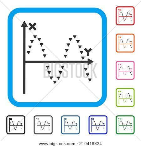 Dotted Sine Plot icon. Flat gray iconic symbol inside a light blue rounded rectangle. Black, gray, green, blue, red, orange color additional versions of Dotted Sine Plot vector.