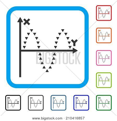 Dotted Sinusoid Plot icon. Flat gray iconic symbol in a light blue rounded squared frame. Black, gray, green, blue, red, orange color additional versions of Dotted Sinusoid Plot vector.