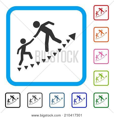 Education Progress icon. Flat grey iconic symbol inside a light blue rounded frame. Black, gray, green, blue, red, orange color versions of Education Progress vector.