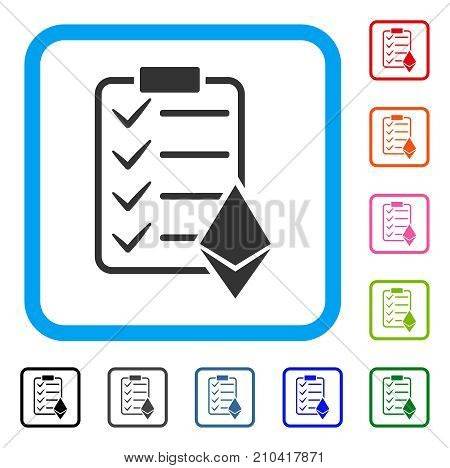 Ethereum Smart Contract icon. Flat grey pictogram symbol in a light blue rounded rectangular frame. Black, gray, green, blue, red, orange color additional versions of Ethereum Smart Contract vector.