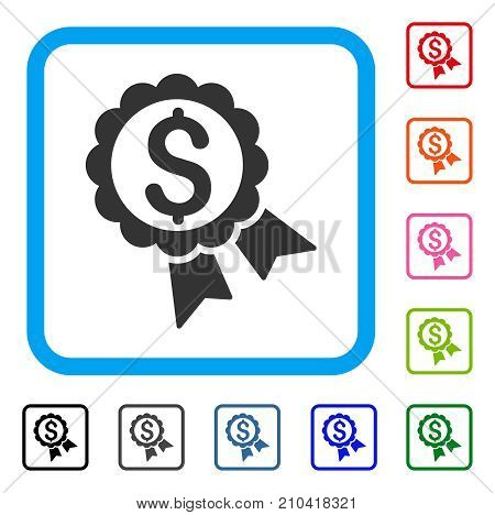 Featured Price Label icon. Flat gray iconic symbol in a light blue rounded squared frame. Black, gray, green, blue, red, orange color versions of Featured Price Label vector.