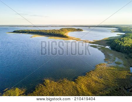 Upałty Island By The Sunset In Mamerki, Mazury District Lake, Poland