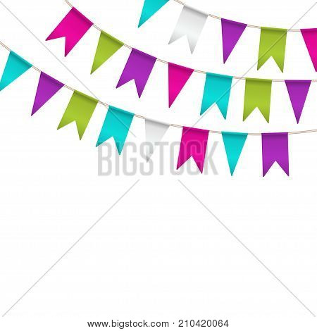 Colorful garlands on white background. Party colorful bunting flags. Vector illustration party pennants with different forms. Celebrate flags. Birthday decoration. Hanging colored flags
