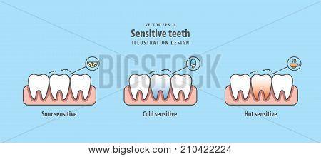 Sensitive Teeth Illustration Vector On Blue Background. Dental Concept.
