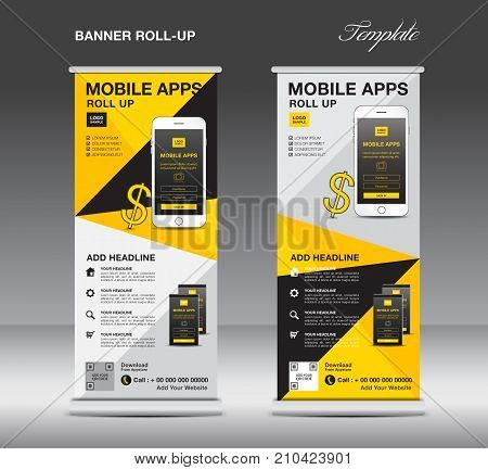 MOBILE APPS Roll up banner template, stand layout, yellow banner, application presentation, infographics, advertisement, flyer, x-banner, j-flag, poster, advertisement, print media advertising