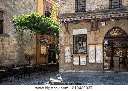 RHODES, GREECE - AUGUST 2017: Facade of jewellery shop at narrow street of Rhodes town. Rhodes island, Greece