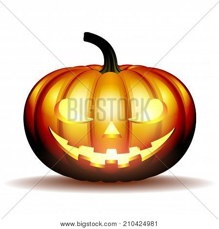 Scary Jack O Lantern halloween pumpkin with candle light inside, vector illustration