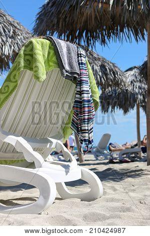 Sunbed with towel on the beach, Cuba, Varadero