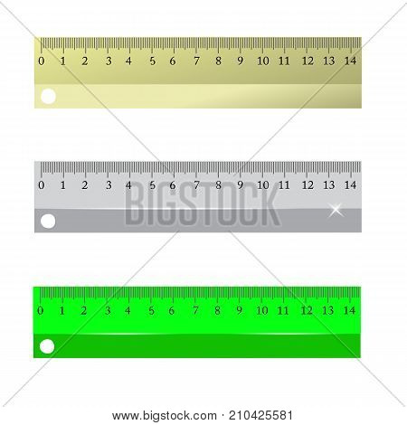 Set of Different Rulers Isolated on White Background