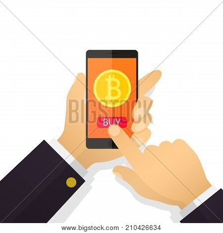 Flat illustration concept businessman hand holding a smartphone with Bitcoins on the screen. Purchase bitcoins, mining. Vector illustration for business, web banners, website design.