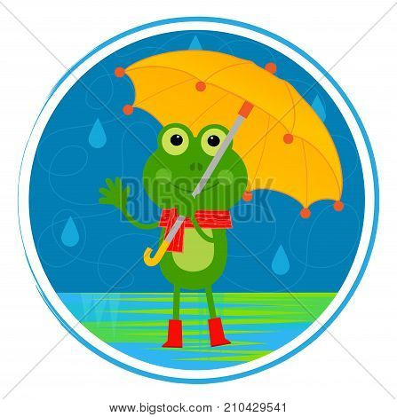 Clip art of a smiling frog with umbrella standing in the rain. Eps10