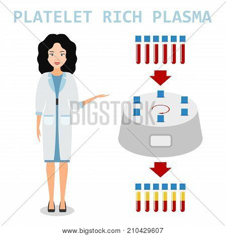 Platelet rich plasma. Nurse or woman doctor explains the generation modern method of treatment of PRP. Test tube with blood and centrifuge. Vector illustration.