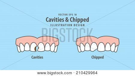 Cavities & Chipped Illustration Vector On Blue Background. Dental Concept.