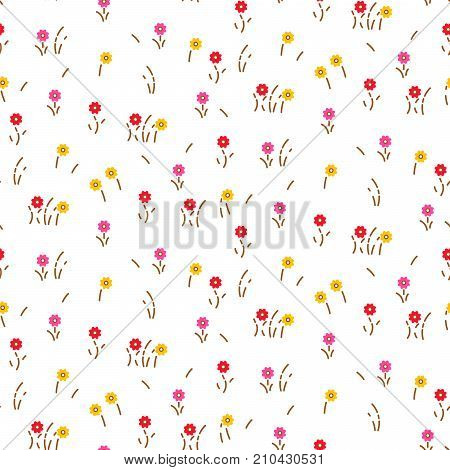 Small flowers line floral romantic pattern seamless vector. Simple pink red colored flowers with brown stalks for print on fabric.