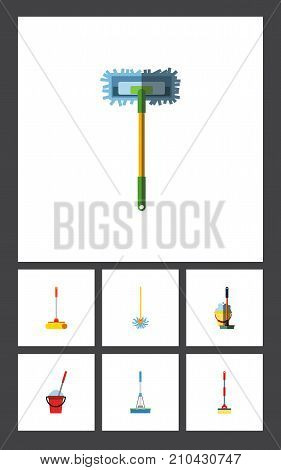 Flat Icon Cleaner Set Of Cleaner, Besom, Mop And Other Vector Objects