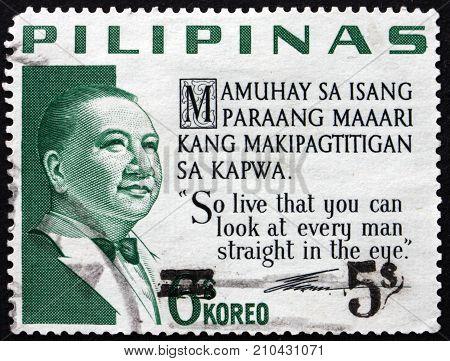 PHILIPPINES - CIRCA 1968: a stamp printed in Philippines shows Elpidio Rivera Quirino Filipino politician and 6th president of Philippines circa 1968