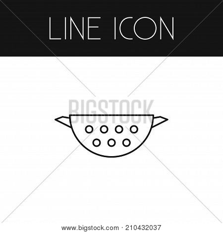 Sieve Vector Element Can Be Used For Sieve, Colander, Cooking Design Concept.  Isolated Colander Outline.