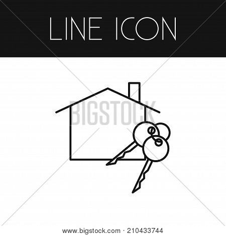 Domicile Vector Element Can Be Used For Domicile, Mortgage, Keys Design Concept.  Isolated Mortgage Outline.