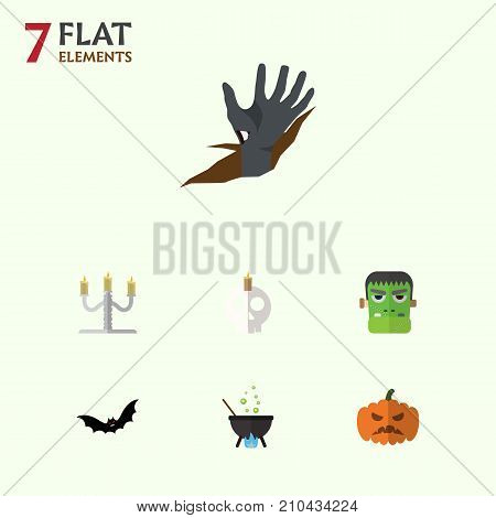 Flat Icon Celebrate Set Of Superstition, Cranium, Pumpkin And Other Vector Objects