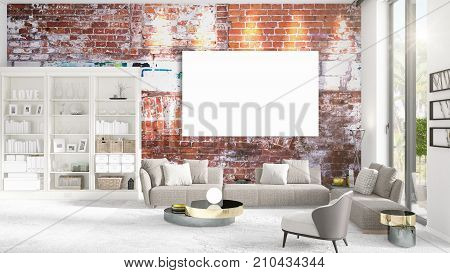 Fashionable Modern Loft Interior With Empty Frame And Copyspace In Horizontal Arrangement. 3D Render