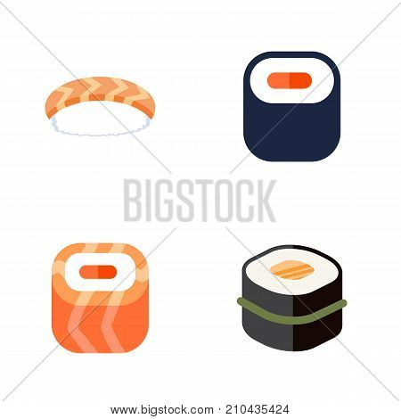 Flat Icon Sushi Set Of Maki, Oriental, Seafood And Other Vector Objects