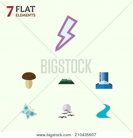 Flat Icon Nature Set Of Peak, Tributary, Lightning And Other Vector Objects