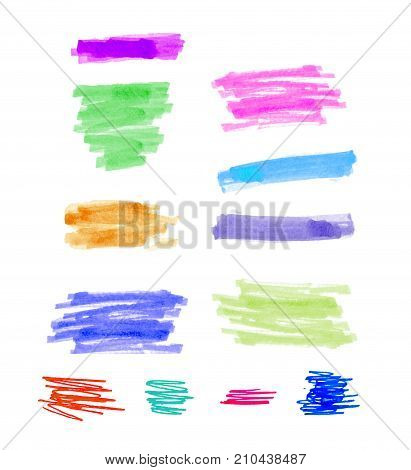 hand drawn colorful highlight stripes design elements brushes marker strokes.