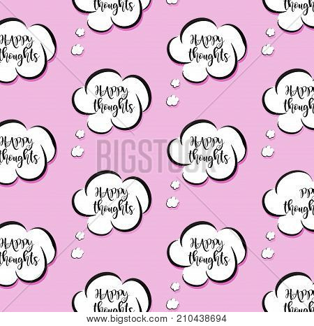 Vector pink vector though clouds. Woman bubble talk sign. Comic cartoon happy message.Positive vibes decoration