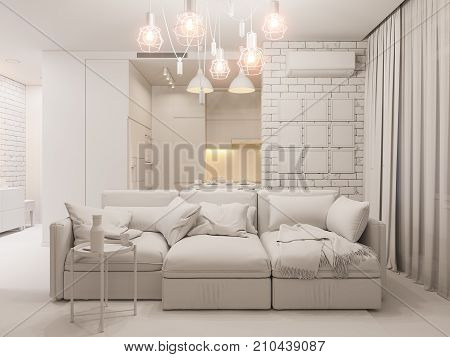3d illustration living room and kitchen interior design. Modern studio apartment in the Scandinavian minimalist style ambient occlusion