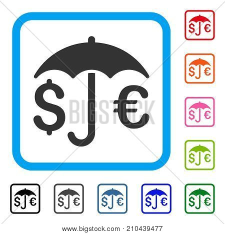 Financial Protection icon. Flat gray pictogram symbol inside a light blue rounded squared frame. Black, gray, green, blue, red, orange color additional versions of Financial Protection vector.