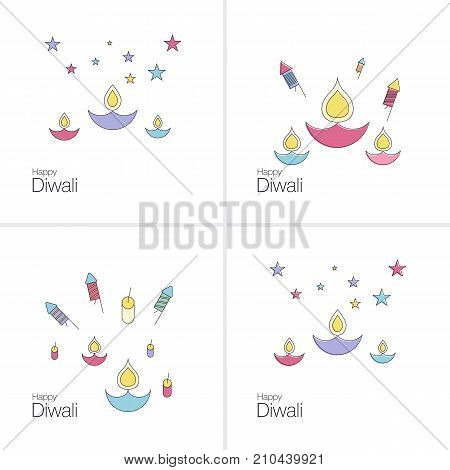 Creative poster, banner or flyer design of Diwali for Indian Festival of Lights, Happy Diwali.