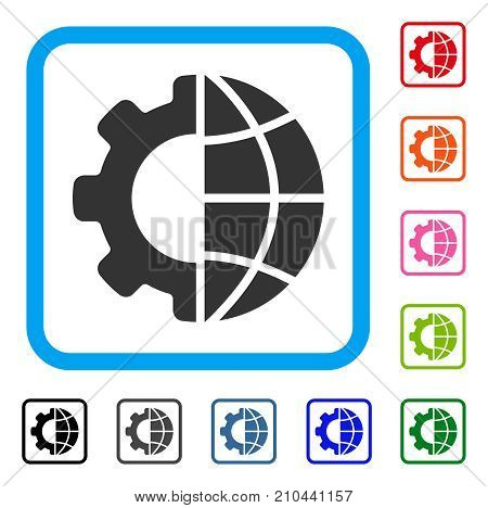 International Manufacture icon. Flat gray iconic symbol in a light blue rounded squared frame. Black, gray, green, blue, red, orange color additional versions of International Manufacture vector.