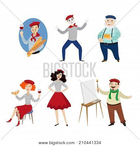 Funny French characters, people, food and culture symbols of France, flat cartoon vector illustration isolated on white background. French people, mimes, artists, food - symbols of France