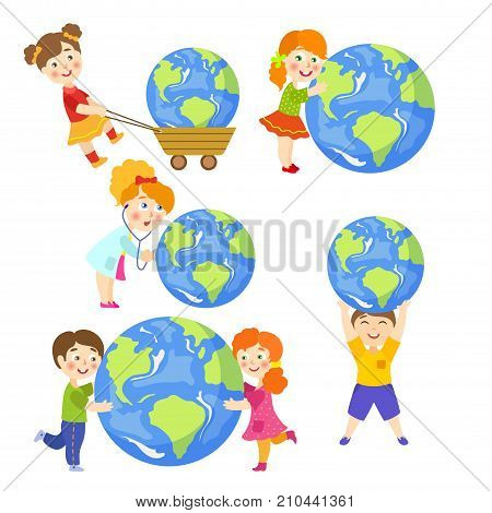 Vector children saving earth planet set. Flat happy girl, boy hugging earth planet, doctor with stethoscope examining lungs, child pulling earth in cart. Isolated illustration on white background.