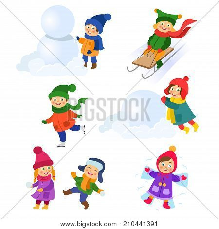Kids, children doing winter activities - play snowballs, make snowman and snow angel, ice skate, tobogan, cartoon vector illustration isolated on white background. Kid, children winter activities set