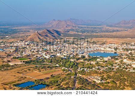 Aerial view of Pushkar in Rajastan, India. Pushkar from above