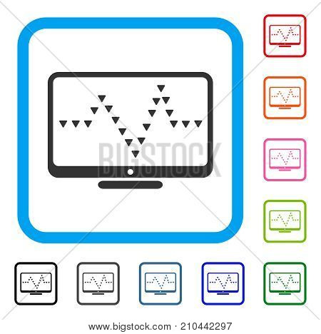 Monitor Dotted Pulse icon. Flat grey iconic symbol in a light blue rounded frame. Black, gray, green, blue, red, orange color versions of Monitor Dotted Pulse vector.